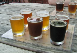 beer tasting flight at Boylan Bridge Brewpub