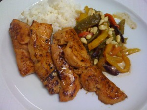 seared salmon with roasted pepper salad